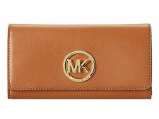 NWT Michael Kors Fulton Leather Carryall Wallet Authentic Hot 32F2GFTE3L LUGGAGE