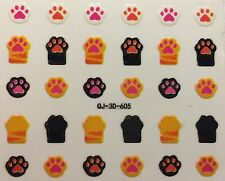 Nail Art 3D Decal Stickers Cat & Dog Paw Print, Kitty & Doggy Feet QJ-3D-605