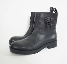 Authentic JIL SANDER NAVY Black Leather MOTORCYCLE BIKER Boots Shoes 38 US-7.5