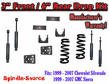 "1999 - 2007 Chevrolet Silverado / GMC Sierra 1500 V8 3"" / 6"" Lower Drop + SHOCKS"