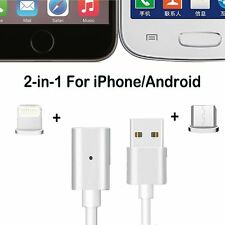 2 in 1 Magnetic Micro Lightning Charging Cable USB Connector For iPhone Android