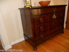 FINE Antique French Empire Louis 1800 Chest of Drawers Mahogany Turned Feet