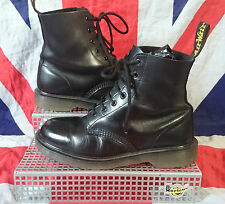 England 7 Eye*Matte Mono All Black Leather Dr Doc Martens*Industrial Non-Steel*6
