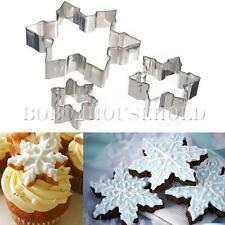 3Pcs Snowflake Cake Fondant Cutter Biscuit Cookies Baking Sugarcraft Mold XMAS