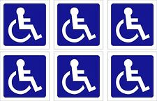 DISABLED / DISABILITY STICKER x 6 self adhesive sticky on back of sticker 70MM