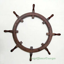 """Rustic Ships Steering Wheel Teak Wood Picture Frame 36"""" Nautical Decor New"""