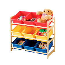 Kids Play Storage Unit 3 Tier Wooden 9 Tubs Caddy Playroom Toy Tidy Shelf