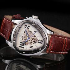 New Fashion Men's Brown Leather Skeleton Automatic Sport Mechanical Wrist Watch