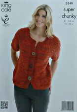 KNITTING PATTERN Ladies Short Moss Stitch Sleeve Cardigan Super Chunky KC 3850
