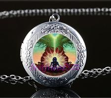 Chakra Tree of Life Cabochon Glass Tibet Silver Locket Pendant Necklace#686