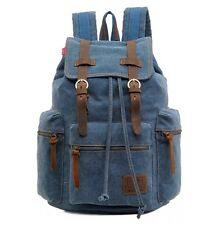 AUGUR VINTAGE RETRO CANVAS BACKPACK RUCKSACK COLLEGE TRAVEL HIKING BLUE BAG