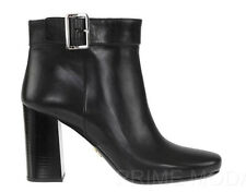 NEW PRADA LADIES CURRENT BLACK LEATHER LOGO ANKLE HEEL BOOTS SHOES 38/US 8