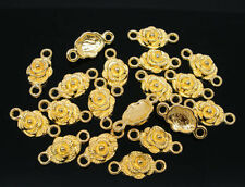 20Pcs Gold Plated Rose Flowers Connectors Jewelry Diy Findings Charms 19x9mm