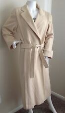 NEIMAN MARCUS White Cream 100% Cashmere Long Open Front Coat w/ Belt-M/L