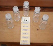 Vintage Set of 5 NEW Clear Glass Apothecary Spice Jars w/ 24 Labels Japan