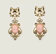 "2"" GOLD TONE BOW AND DROP PINK CAMEO WITH RHINESTONE CRYSTALS PAIR OF EARRINGS"