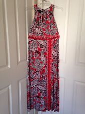 Womens INC Korean Border Paisley Slit Hem Keyhole Halter Maxi Dress Sz XS