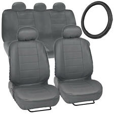 Gray PU Leather Car Seat Covers GripDrive Steering Wheel Cover Stitched