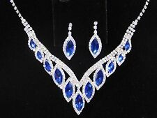Awesome Silver Royal Blue Rhinestone Crystal Necklace and Earrings Set