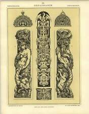 1880 Renaissance : Flemish Pilaster Figures For Stone Carving