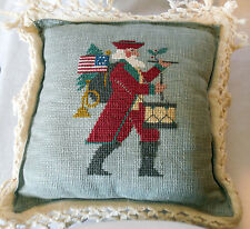 PRAIRIE SCHOOLER counted cross stitch CHRISTMAS PILLOW Patriotic Santa complete