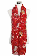RED CHUBBY OWL  PRINT SCARF