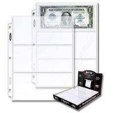 10 loose BCW 3 Pocket Pages Currency Dollar Bill Sheets Holders