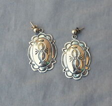 Vintage Silver Stamped Native American Southwestern Drop Concho Earrings