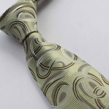 YIBEI Ties Retro Light Yellow Green Paisley Necktie Casual Mens Neck Tie fashion