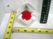 Beautiful Red Rose Lucite Paperweight Square Cube which Stands on Corner TCBC-83