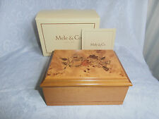 MELE & CO SMALL WOODEN ORIENTAL ROSE PATTERN JEWELLERY BOX FINE QUALITY BOXED