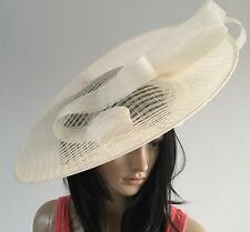 IVORY ASCOT WEDDING DISC HATINATOR HAT MOTHER OF THE BRIDE