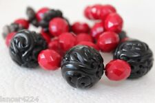 VINTAGE CHINESE CARVED GENUINE JET AND RUBY RED FACETED GLASS BEAD NECKLACE