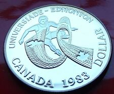 PROOF STRIKE 1983 CANADA SILVER PROOF DOLLAR EDMONTON SOCCER DOLLAR GEM