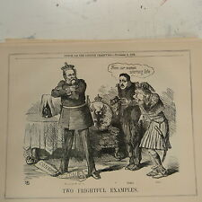 "7x10"" punch cartoon 1862 TWO FRIGHTFUL EXAMPLES king of prussia , bomba , otho"