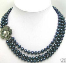 New 3 Row 6-7mm Black pearl Necklace Flwoer Shell Clasp