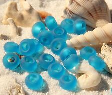 Sea Glass Cable Style Large Hole Rondelle Beads,4 Pieces 14x10mm, PACIFIC BLUE