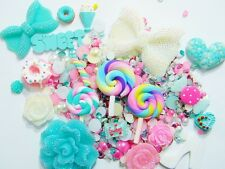 DIY Big White Bow Flatback Resin Polymer Clay Lollipop Cabochon Deco Bling Kit