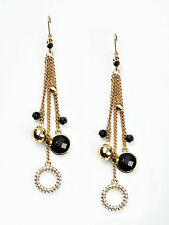 ABS BY ALLEN SCHWARTZ JEWELRY BLACK&GOLD CHAIN EARRINGS $75