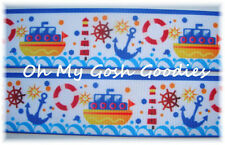 1.5 ANCHOR SWEETIE WAVE NAUTICAL CRUISE PATRIOTIC GROSGRAIN RIBBON 4 HAIRBOW BOW