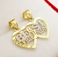 Best Friends 10k Yellow Gold Split Heart Charm Breakable Heart Pendant