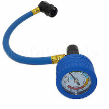 R134a Car Air Conditioning Recharge Hose Refrigerant Can Tap & Pressure Gauge