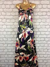 TED BAKER 2 UK 10 BRIGHT 100% SILK FLORAL SUMMER  MAXI DRESS