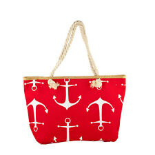 Lux Accessories Lux Accessories Womens Zip Up Beach Bag RedWhite Anchor