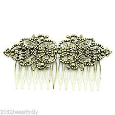 "2PCs Hair Clips Comb Shape Flower Hollow Bronze 9.8 x 5.2cm(3 7/8""x2"")"