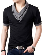 Fashion Men's Casual V Neck Tops Blouse Slim Fit Muscle Short Sleeve Tee T Shirt