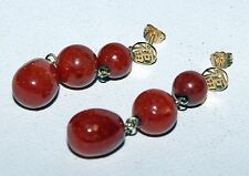 SUPERBA Finest CINESE VINTAGE 14CT GOLD RED jade Perlina Pendente Orecchini