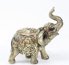 "4"" Feng Shui Bronze Elephant Trunk Statue Wealth Lucky Figurine Gift Home Decor"