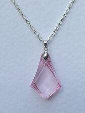 ART DECO STYLE PINK FACETED SPEAR PENDANT ACRYLIC CRYSTAL SILVER PLATED