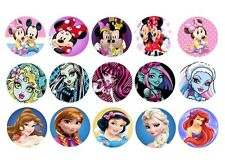 1' 30  Precut  Mix of Mickey&Minnie, Monster high ,Princess bottle cap image